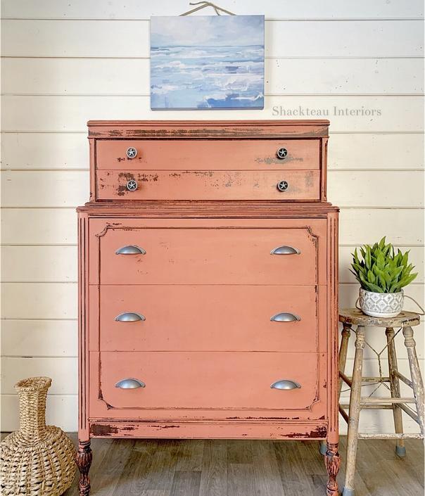 Nantucket Red Vintage Dresser