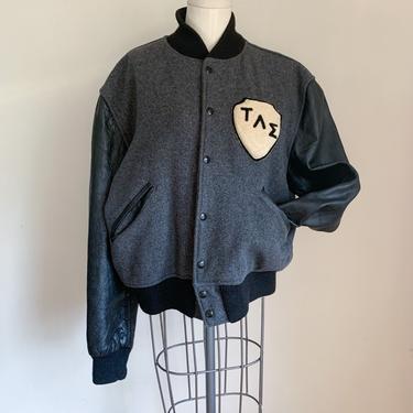 Vintage 1970s Varsity Leather & Wool Jacket / L by MsTips