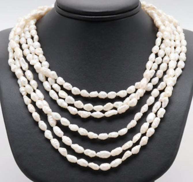 Triple Strand Cultured Pearl Necklace with 14K Gold Clasp by LazyCamel