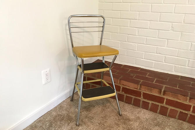 Vintage Cosco Step Stool Mustard Yellow Silver Black Mid Century ...