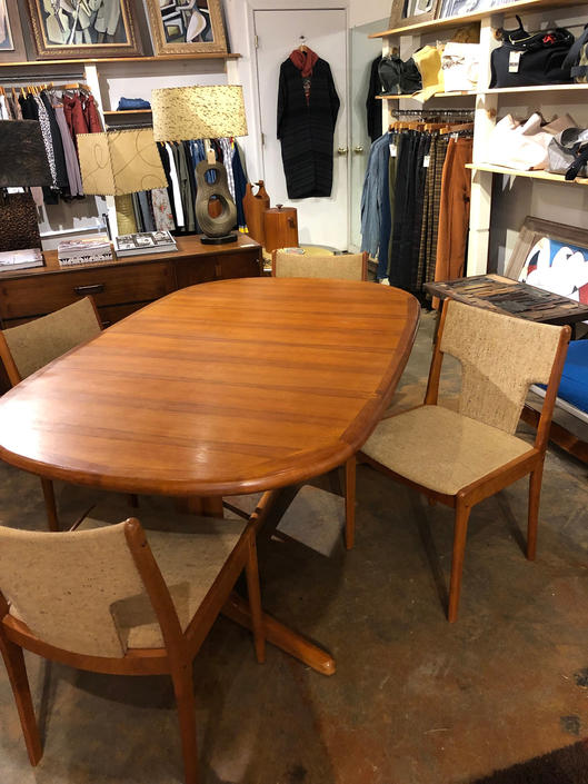 E. Valentinsen Danish Teak Dining Table and 4 Mobelfabrik Chairs by bcdrygoods
