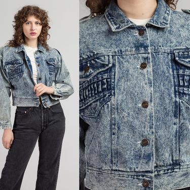 80s Acid Wash Cropped Jean Jacket - Medium   Vintage Denim Button Up Crop Coat by FlyingAppleVintage