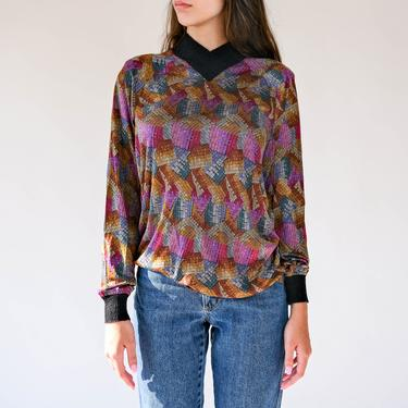 Vintage 70s Missoni Multi Color Silk Woven Print Blouse w/ Black Knit Collar & Cuffs | Made in Italy | 100% Silk | 1970s Designer Top by TheVault1969