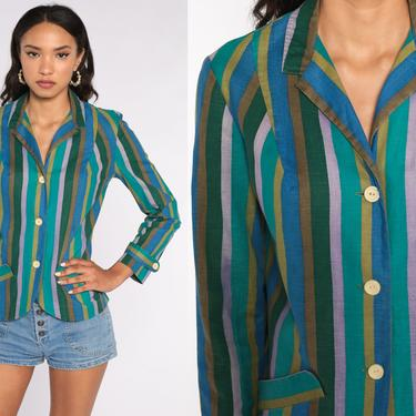 80s Striped Shirt Green Blue Blazer Top 80s Blouse 1980s Vintage Long Sleeve Button Up Medium by ShopExile
