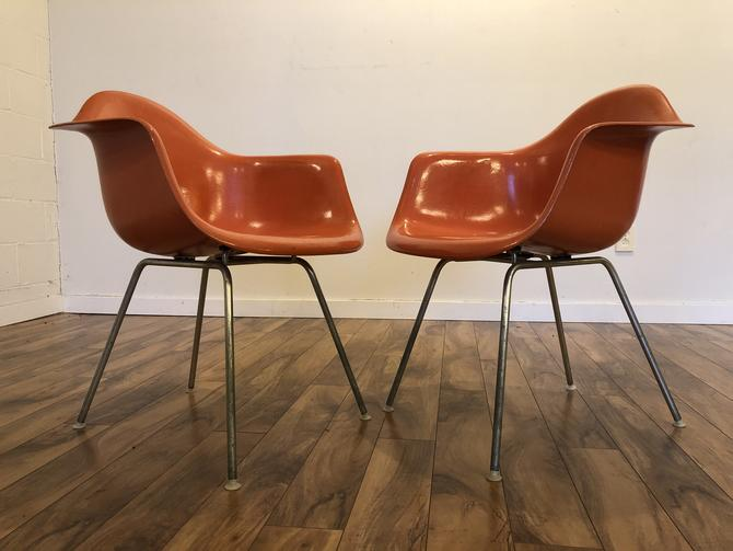 Eames Vintage Fiberglass Armchairs with H Base