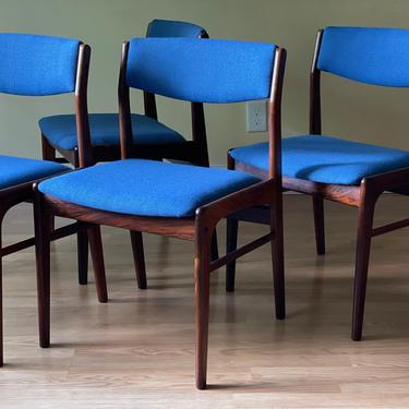Set of four Rosewood Dining Chairs In KnollTextiles Wool Fabric; I/S Thorso Stole Mobelfabrik by ASISisNOTgoodENOUGH