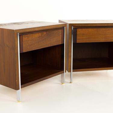 Paul McCobb Style Lane Mid Century Chrome and Walnut Nightstands - A Pair - mcm by ModernHill