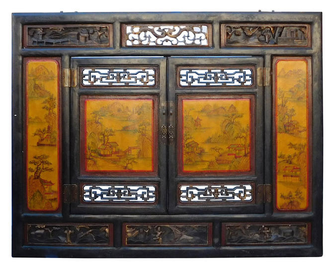 Chinese Vintage Yellow Scenery Carving Wall Panel Screen cs1986E by GoldenLotusAntiques