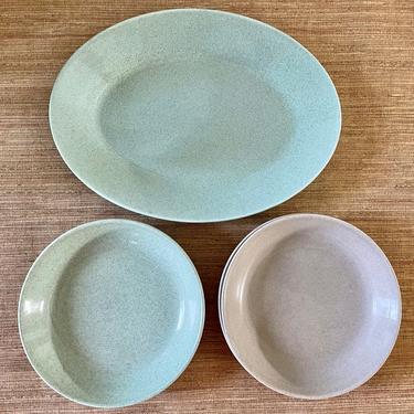 Vintage Speckled Platter and Bowls - Aqua Blue and Gray Ceramic - Oval Aqua Speckled Platter - Two Aqua Bowls - Two Gray Speckled Bowls by SoulfulVintage