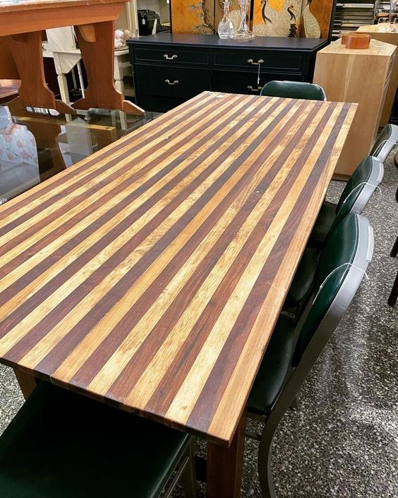"""Butcher block top farm table, 73""""L x 30.5""""W x 31""""T,"""