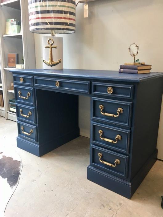 George- Napoleonic Blue Desk With Gold Hardware by StylishPatina