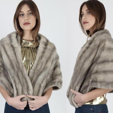Vintage 60s Silver Mink Stole / Grey Mink Fur Portrait Collar Bolero / 1960s Luxurious Plush Mother Of The Bride Cape by americanarchive