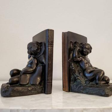 1920s American Art Deco Patinated Bronze Antique Bookends Putti Cherub And Butterfly by Ronson Art Metal Works by LynxHollowAntiques