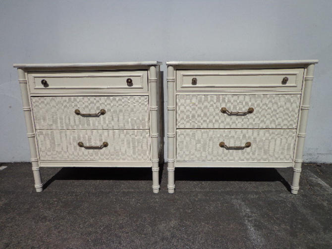 Pair Of Bamboo Chests Nightstands Thomasville Allegro Dresser Table Storage Boho Chic Chinoiserie Campaign Shabby
