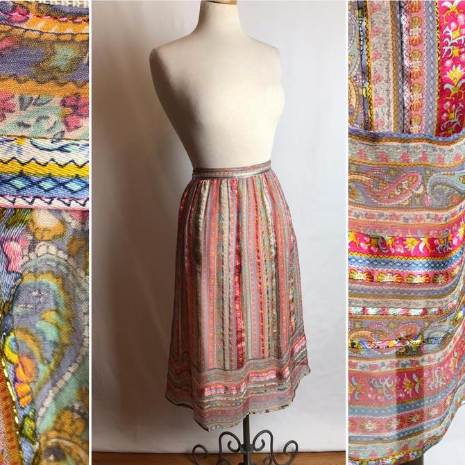 "Beautiful layered silk bohemian skirt~ sheer silky woven threading~ dainty floral stripes~ size 28"" waist by HattiesVintagePDX"