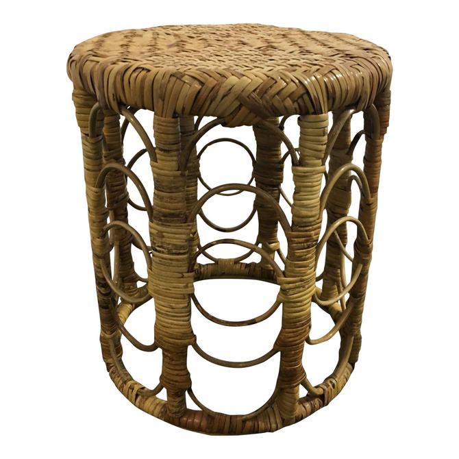Vintage Peacock Rattan Stool Side Table Boho Decor by PursuingVintage1