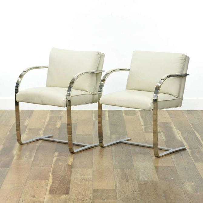 Pair Knoll Leather Brno Modernist Cantilever Armchairs