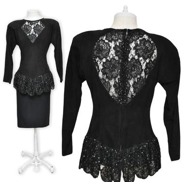Vintage Judith Anne Black Suede and Beaded Peplum Blouse with Lace Keyhole Back Size Medium by TheUnapologeticSoul