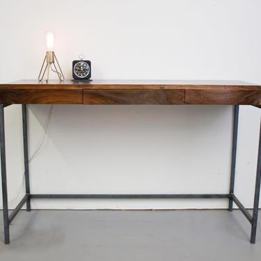 Walnut Desk - Solid Steel Base with Pencil Drawer by OlivrStudio