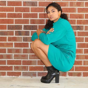 80s Matching Set | Vintage Sweater Dress | Sweater Skirt Set | Green Sweater Dress | Small Medium by jmichaelvintage