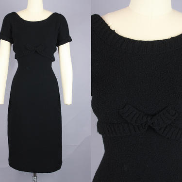 1950s SWEATER DRESS | Vintage 50s Black Knit Short Sleeved Dress with Bow Detail | small by RelicVintageSF
