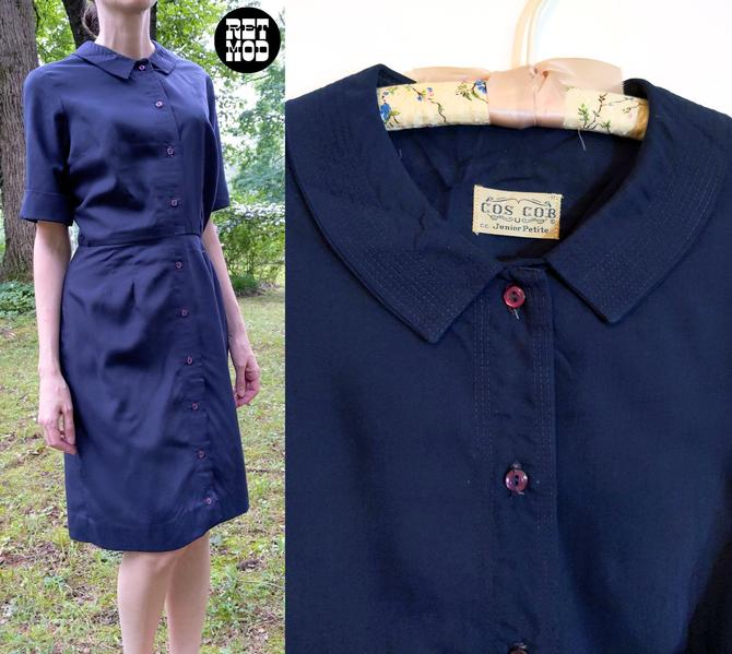 Comfy Chic Vintage 50s 60s Navy Blue Cotton Day Dress with Collar by RETMOD
