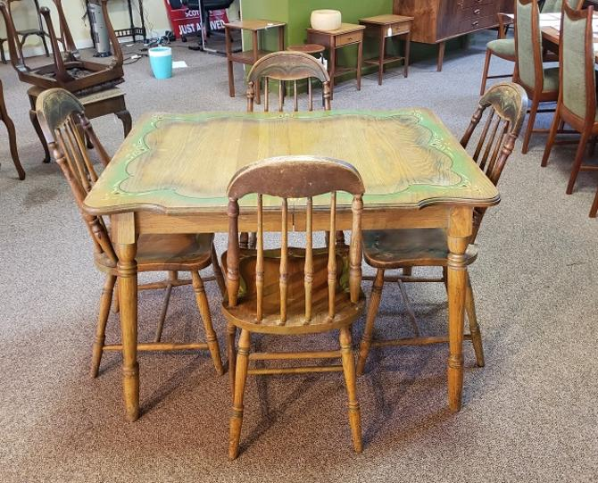 Item #CS1 Vintage American Kitchen Table w/ Four Chairs c.1940