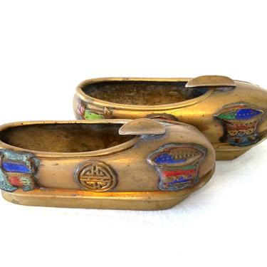 Small Pair of Brass Asian Style Enamel Shoes by ModernPicks