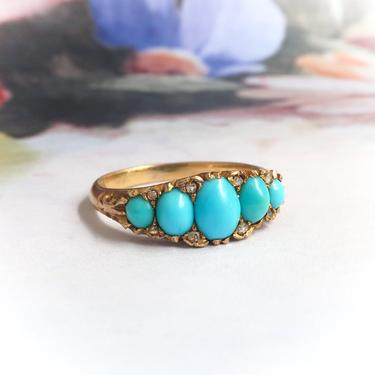 Victorian Turquoise Diamond Ring Antique 1880's Five Stone Rose Cut Diamond Stacking Wedding Band Birthstone Ring 18k Yellow Gold by YourJewelryFinder