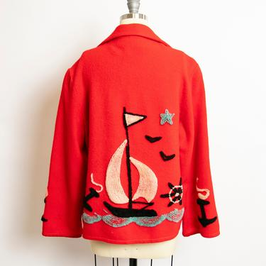 1940s Souvenir Jacket Red Wool Sailing Applique Novelty Large 50s by dejavintageboutique