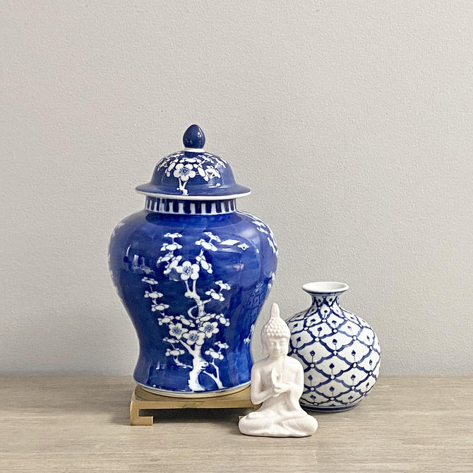 Vintage Chinese Ginger Jar Blue White Hawthorn Prunus Branch Design Chinoiserie Chic by ModRendition