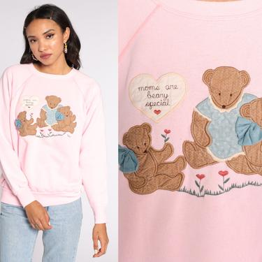 Mom Sweatshirt 90s Teddy Bear Shirt Kawaii Sweater Baby Pink Pun Sweatshirt Vintage Graphic Pullover Mother's Day Large by ShopExile