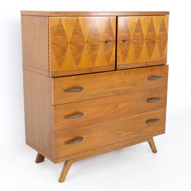 Lane Harlequin Mid Century Inlaid Walnut Gentlemans Chest Highboy Dresser - mcm by ModernHill