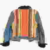 70's Striped Faux Fur Jean Jacket