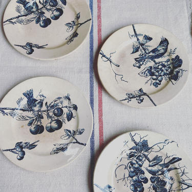 Beautiful set of 4 antique French ironstone plates-DP4 by Grainsacfrenchvintag