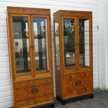 American of Martinsille Hollywood Regency Pair of China Display Cabinets 2398