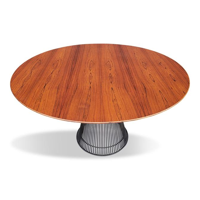 "Warren Platner 1960s Early Rosewood and Bronze 54"" Dining Table"