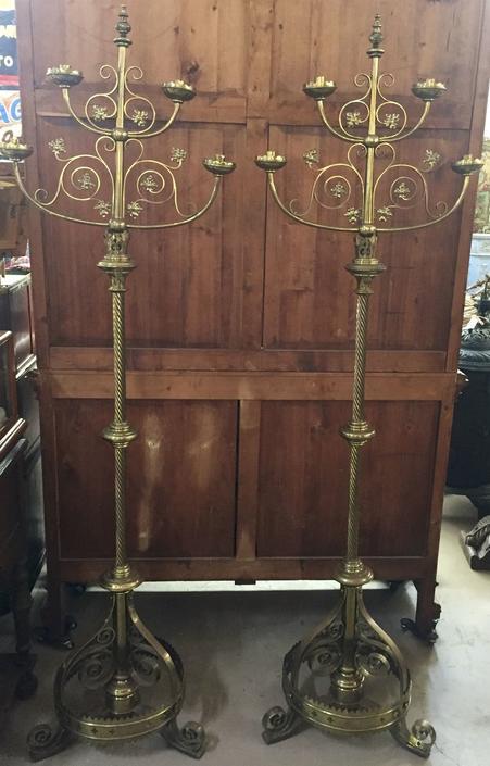 Brass Floor 4-Light Candelabra Lamps (pair)