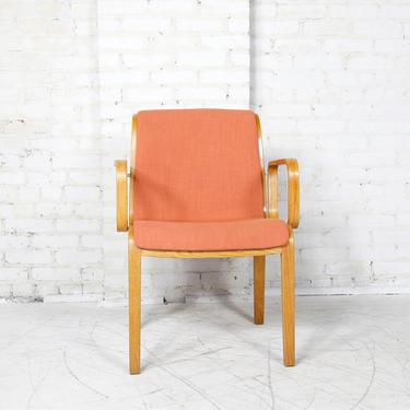 Vintage mcm oak bentwood armchair w/ fabric upholstery accent chair by Knoll | Free delivery in NYC and Hudson Valley areas by OmasaProjects