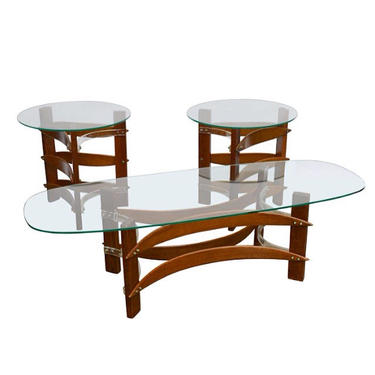Mid Century Modern Curved Wood & Lucite Coffee and Side Table Set Pearsall Kagan Style Free Shipping by TheModernHistoric