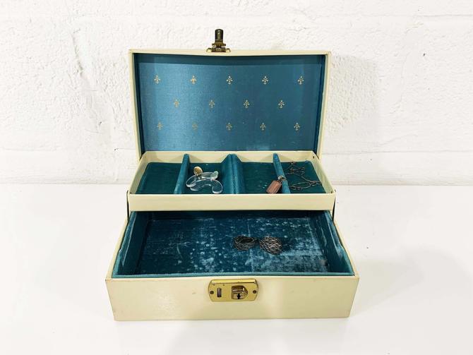 True Vintage Jewelry Box Cream Beige Gold Ornate Case Vintage Turquoise Teal Blue Velvet Vanity Retro Storage 1950s 50s by CheckEngineVintage
