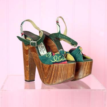 1970's Platform High Heels 1940's style Vintage Hippie Wooden Shoes RARE, Bark cloth, Stilettos, Disco High Heel Pumps Ossie Clark, Biba by Boutique369
