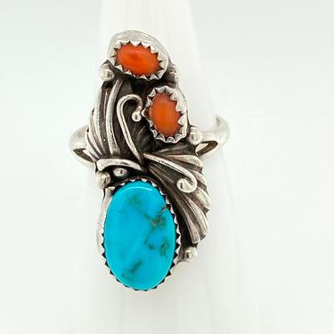 Vintage Navajo Bright Blue Turquoise Coral Sterling Silver Ring Sz 7 Signed J by HouseofVintageOnline
