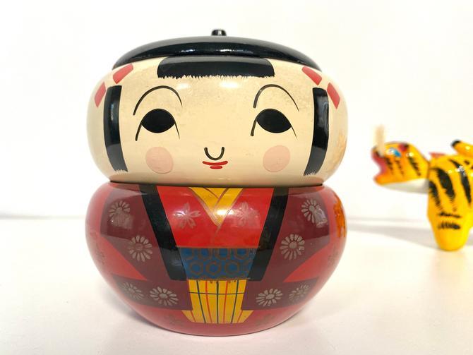 Vintage Kokeshi Doll Bento Box, Stacking Kokeshi Doll by TheBrassFig
