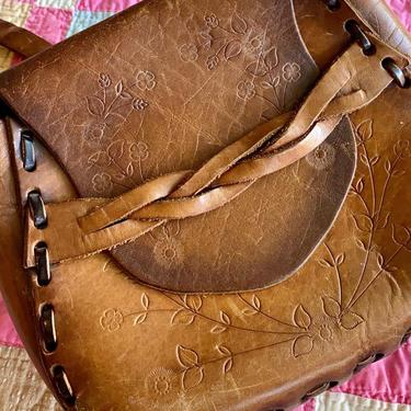 70's Hand Tooled Leather Bag