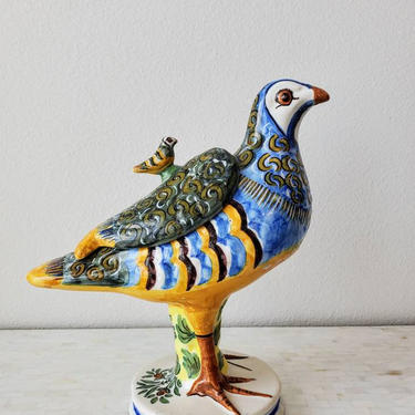 Antique Spanish Alcoa Faience Hand Painted Partridge Bird Form Lidded Tureen, 19th Century by LynxHollowAntiques