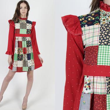 Vintage 70s Raggedy Ann Dress / Patchwork Calico Floral Dress / Red Folk Apron Polka Swiss Dot / Womens Homespun Prairie Mini Dress by americanarchive