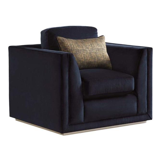 Caracole Signature Modern Navy Velvet Aristocrat Club Chair