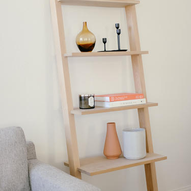 Modern Leaning Bookcase in Solid White Oak or Walnut by abdobuilds