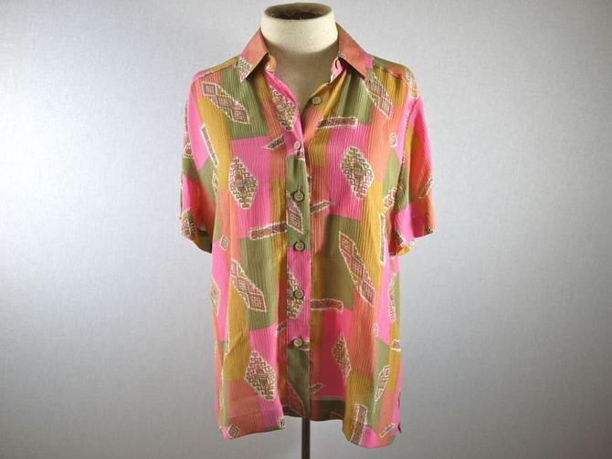 Pastel Pink Color Block Southwestern Silk Shirt by citybone